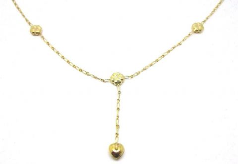 9ct Yellow Gold 18 inch Heart and Four Leaf Clover Lariat Style Necklace